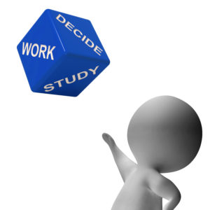 Work Or Study Dice Showing Choice Of Working Or Studying